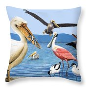 Birds with strange beaks Throw Pillow by R B Davis