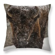 Bison Buffalo Wyoming Yellowstone Throw Pillow by Mark Duffy