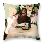 Bistro Mural Detail 1 Throw Pillow by Rachel Christine Nowicki
