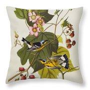 Black And Yellow Warbler Throw Pillow by John James Audubon