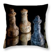 Black Chess King Defeated And Surrounded Throw Pillow by Marc Garrido