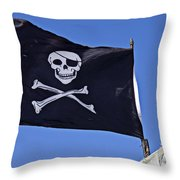 Black Pirate Flag  Throw Pillow by Garry Gay