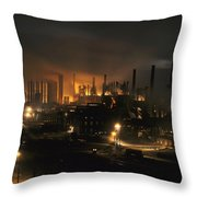 Blast Furnaces Of A Steel Mill Light Throw Pillow by J. Baylor Roberts