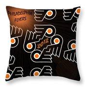 Bleeding Orange And Black - Flyers Throw Pillow by Trish Tritz