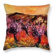 Blooming Cherry Trees Throw Pillow by Pol Ledent