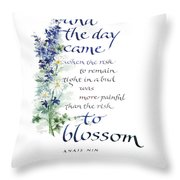 Blossom I Throw Pillow by Judy Dodds