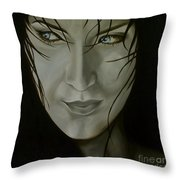 Blue-eyed Girl Throw Pillow by Jindra Noewi