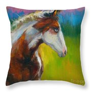Blue-eyed Paint Horse oil painting print Throw Pillow by Svetlana Novikova