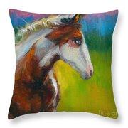 Blue-eyed Paint Horse Oil Painting Print Throw Pillow by Svetlana Novikova