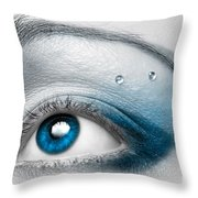 Blue Female Eye Macro With Artistic Make-up Throw Pillow by Oleksiy Maksymenko