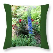 Blue Hollyhock And Red Roses Throw Pillow by Corey Ford