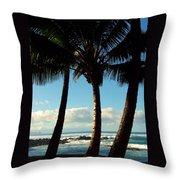 Blue Palms Throw Pillow by Karen Wiles