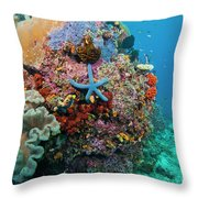 Blue Starfish On Coral Reef, Raja Throw Pillow by Beverly Factor