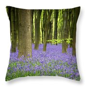 Bluebells Throw Pillow by Jane Rix