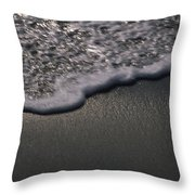 Blurred Motion Of A Wave On The Shore Throw Pillow by Stacy Gold
