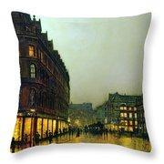 Boar Lane Throw Pillow by John Atkinson Grimshaw
