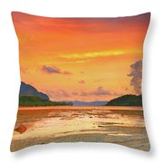 Boat At Sunset Throw Pillow by MotHaiBaPhoto Prints