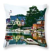Boathouse Row In Philly Throw Pillow by Bill Cannon