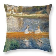 Boating on the Seine Throw Pillow by Pierre Auguste Renoir