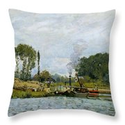 Boats At The Lock At Bougival Throw Pillow by Alfred Sisley