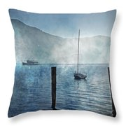 Boats In The Fog Throw Pillow by Joana Kruse