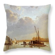 Boats On A River Throw Pillow by Aelbert Cuyp