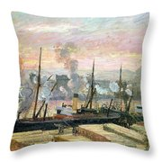 Boats Unloading Wood Throw Pillow by Camille Pissarro