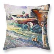 Boats Yard In Villajoyosa Spain Throw Pillow by Miki De Goodaboom