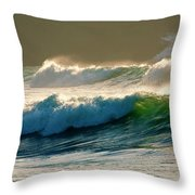 Boiler Bay Waves Rolling Throw Pillow by Mike  Dawson