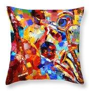 Bold Jazz Quartet Throw Pillow by Debra Hurd