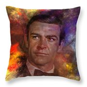 Bond - James Bond - Square Version Throw Pillow by John Robert Beck