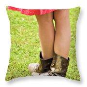 boot scootin' Throw Pillow by Meirion Matthias