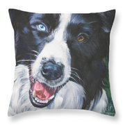 Border Collie Throw Pillow by Lee Ann Shepard