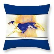 Borzoi Blue Flight Throw Pillow by Kathleen Sepulveda