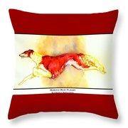 Borzoi Red Flight Throw Pillow by Kathleen Sepulveda