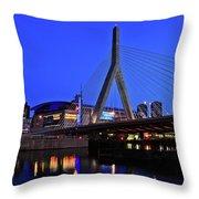 Boston Garden And Zakim Bridge Throw Pillow by Rick Berk