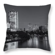 Boston Night Skyline V Throw Pillow by Clarence Holmes