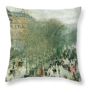 Boulevard Des Capucines Throw Pillow by Claude Monet