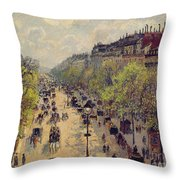 Boulevard Montmartre Throw Pillow by Camille Pissarro