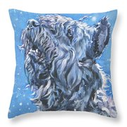 Bouvier Des Flandres Snow Throw Pillow by Lee Ann Shepard