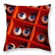 Box Full Of Doll Eyes Throw Pillow by Garry Gay