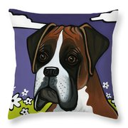 Boxer Throw Pillow by Leanne Wilkes