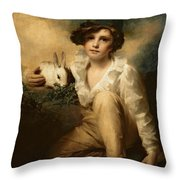 Boy And Rabbit Throw Pillow by Sir Henry Raeburn