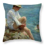 Boys Bathing Throw Pillow by Henry Scott Tuke