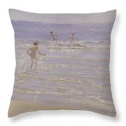 Boys Swimming Throw Pillow by Peder Severin Kroyer