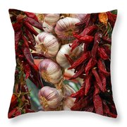 Braid Of Garlic Framed By Ristras Throw Pillow by Anne Keiser