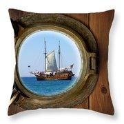 Brass Porthole Throw Pillow by Carlos Caetano