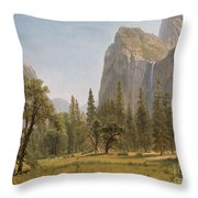 Bridal Veil Falls Yosemite Valley California Throw Pillow by Albert Bierstadt