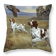 Brittany Spaniels Flush Three Birds Throw Pillow by Walter A. Weber