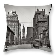 Broad Street Philadelphia 1905 Throw Pillow by Bill Cannon